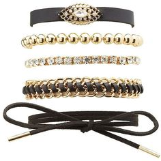 Charlotte Russe Edgy Embellished Layering Bracelets - 5 Pack ($6) ❤ liked on Polyvore featuring jewelry, bracelets, gold, lobster claw charms, evil eye jewelry, charm jewelry, chunky bangles and cuff jewelry