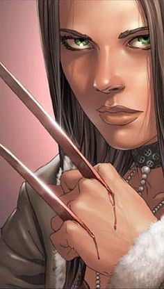 """X-23 - an illustration that nicely makes the point illustrated so well in the first movie when Rogue asked Wolverine: """"Does it hurt when they come out?"""""""