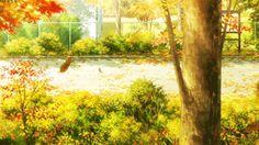 anime, scenery, leaves, trees, autumn, gif