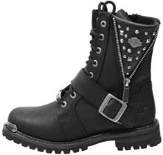 Harley-Davidson Womens Mindy Black Leather Mid Cut Boot