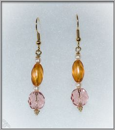 Czech Glass Pink and Pearl Earrings