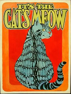 """Faux rock poster created in 1967 by underground comix legend R. Crumbs, as a sort of """"calling card"""" to drum up work on the local San Francisco psychedelic concert circuit. As a tongue-in-cheek homage to Helms' FAMILY DOG production company, Crumb created this piece promoting a show called the """"Cat's Meow"""" featuring the fictional lineup of Fess Williams, The Royal Flush Orchestra, Butterbeans & Susie... all scheduled to appear at The Avalon from May 9th -11th in the real summer of love."""