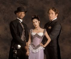 """Wild Wild West"" promo still, 1999.  L to R: Will Smith, Salma Hayek, Kevin Kline."