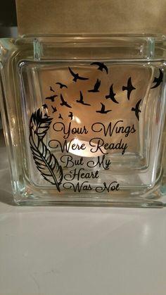 Small square glass vase/block Square Glass Vase, Vinyl Designs, Wings, Invitations, Save The Date Invitations, Feathers, Invitation