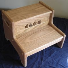 Personalized Two Step Stools-oak