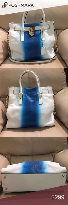 Michael Kors ombré Blue/white Hamilton tote This is 100% leather and authentic!  Gold hardware.  Barely used.  Clean inside out with a little rubbed off color on the back side which does not make it too obvious because of the ombre style.  Corners are perfect as well as handles.  Reposting for it was sold too low.  Changed my mind TRADE VALUE HIGHER Michael Kors Bags Totes