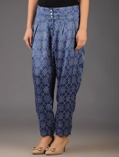 Buy vy Navy Block Printed Pleated Pants with Pocket Modal Silk Apparel & Skirts Bejeweled in Vibrant Colors Online at Jaypore.com