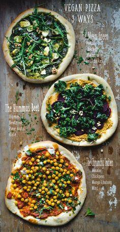 Pizza vegana - 3 maneras - The Mean Green, The Hummus Beet y The Crunchy Indian . - Pizza vegana – 3 maneras – El verde malo, la remolacha Hummus y el indio crujiente … – Efect - Clean Eating Recipes, Healthy Dinner Recipes, Diet Recipes, Healthy Eating, Pizza Recipes, Easy Recipes, Chicken Recipes, Healthy Hummus, Eating Fast