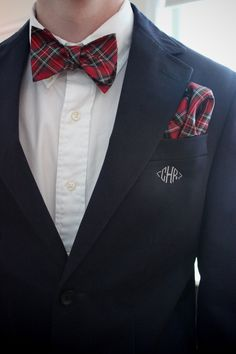 Monogrammed Suit + Tartan Bow Tie + Matching Pocket Square for Preppy Menswear Style.