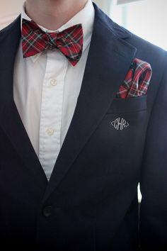 Navy jacket, white OCBD, red tartan plaid bow tie