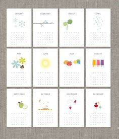 """2012 Printable Calendar $7.  I bought this one off Etsy.  It's my """"just to look at"""" desk calendar.  Love the simple art work.  I need to learn how to do this myself. Think it's done on Adobe."""