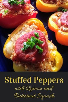 Colorful, nutritious vegan and gluten free stuffed peppers with butternut squash, quinoa, onions, and tomatoes: great for everyday eating or a holiday! Egg Free Recipes, Vegan Recipes Easy, Whole Food Recipes, Dinner Recipes, Vegetarian Entrees, Vegetarian Options, Baked Peppers, Vegan Stuffed Peppers, Vegetarian Main Course