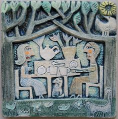 Title Tea with 2 Cats  Artist Hilke MacIntyre  Medium ceramic relief, edition of 50