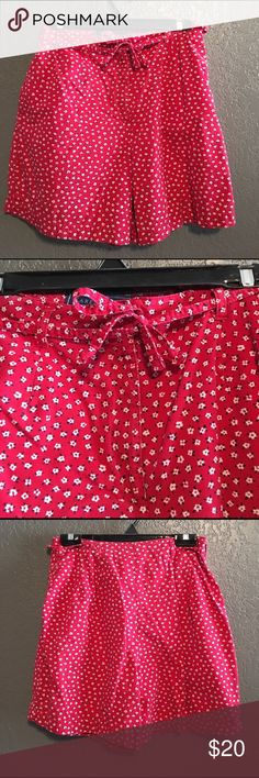 Vintage Red Floral Shorts Cute red shorts from the 90s by Karen Scott. Matching shirt also for sale in my closet! Hooks closed, has side pockets, a zipper, and a decorative belt that ties in front. 100% cotton. Used but in good condition. No trades. No holds. Serious inquiries only. Karen Scott Shorts