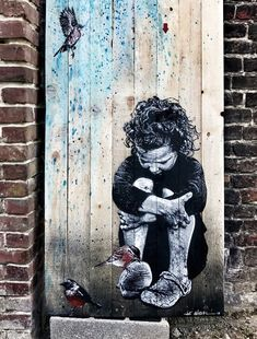 Sometimes we need someone to simply be there. 3d Street Art, Street Art Banksy, Banksy Art, Murals Street Art, Amazing Street Art, Art Mural, Street Artists, Graffiti Artwork, Graffiti Lettering