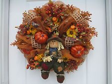 **NEW LOWER PRICE**Big Fall and Thanksgiving Deco Mesh Wreath