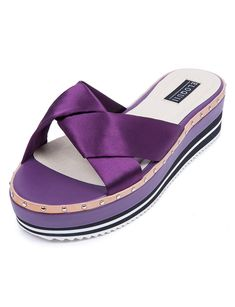 View our Sateen Cross Flatform Sandal and shop our selection of designer women's plus size , clothing and fashionable accessories. Purple Cross, Shades Of Purple, 50 Shades, Spring Shoes, Spring Fashion, Summer Outfits, Sandals, Heels, How To Wear