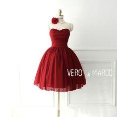 Rot gerafftes herzförmiger kurzes Tüll Abendkleid von ThingsInLove auf DaWanda.com