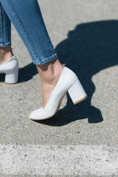 Maryam Nassir Zadeh White Calf Maryam Pump & Rollas Stevie Blue Eastcoast Ankle