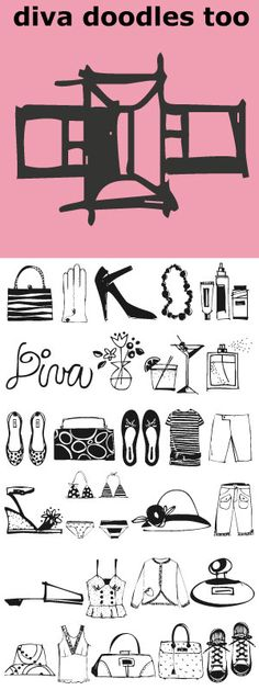 Diva Doodles Too is more of our Diva Doodles. More girl things in a refreshingly clean, line drawn, playful style.