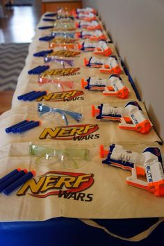 Host a fun-filled Nerf Gun party for your adventurous birthday boy. Love this set-up for a Nerf-inspired party.