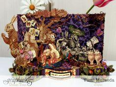 Hallowe'en in Wonderland Alice stage by Yumi Altered Boxes, Altered Art, Alice In Wonderland Crafts, Magic Of Oz, Mini Scrapbooks, Moon Cake, Assemblage Art, Graphic 45, Halloween Cards