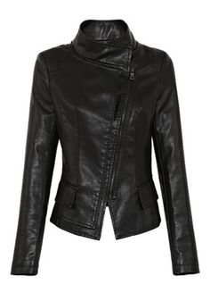 LOVE this! Black Zipper Pockets Stand Collar  Leather Jacket #Black #Moto #Jacket #Fashion