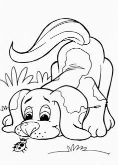 Puppy And Bug Coloring Page For Kids Animal Pages Printables Free