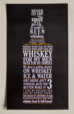 Whiskey Bottle Typography Poster