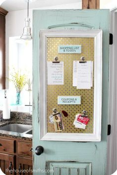 Keep your kitchen craziness together with a magnetic organization board. Make it easy to keep track of shopping lists, coupons and receipts with clips.