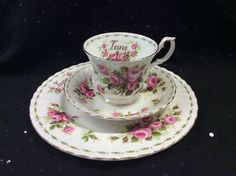 Royal Albert Bone China Flower of the Month JUNE ROSES Tea Cup Saucer Plate Trio #RoyalAlbert