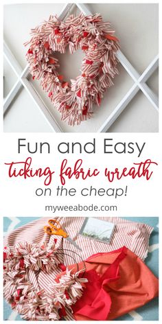 How to Make a Ticking Stripe Fabric Heart Wreath - my wee abode Create this DIY heart wreath for Valentine's Day using ticking fabric! This tutorial is great for Valentine Day Wreaths, Valentines Day Decorations, Valentine Day Crafts, Valentine Ideas, Gold Decorations, Printable Valentine, Homemade Valentines, Valentine Box, Fabric Wreath
