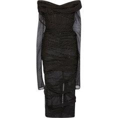 Dolce & Gabbana Off the Shoulder Polka Dot Dress ($3,375) ❤ liked on Polyvore featuring dresses, black, form fitting dresses, long sleeve polka dot dress, long sleeve dress, long sleeve day dresses and polka dot dresses