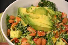 Creamy Almond and Basil Kale Salad recipe