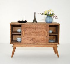 The Classic Small Mid-Century Credenza.  Designed and handmade by: Fashion Doll Store Tiny Red Button  Measurement:  7.75 inches (19,7 cm) wide