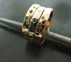 Candace's Three Color Stackable Ring, Yellow Gold, White Gold, Rose Gold, White And Black Diamond