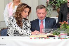 Queen Rania of Jordan and King Abdullah II of Jordan are welcomed at the Town Hall during a royal guided tour through the city of Brugge, during a State Visit of the Jordan King and Queen to Belgium on May 19, 2016 in Brugge, Belgium.
