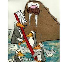 Penguins+Brushing+Walrus+Tusks +by+WallcoJr