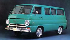 1964 Dodge A100 Sportsman Wagon. One of Detroit's answers to the VW Microbus. Love the idea of a family roadtrip in a restored one.