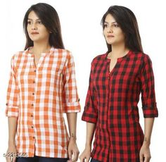 Shirts Comfy Cotton Women's Shirts Combo Fabric: Cotton  Sleeves: Sleeves Are Included  Size: S - 36 in M - 38 in L - 40 in XL - 42 in XXL - 44 Length: Up To 24 in  Type: Stitched Description: It Has 2 Piece Of Women's Shirts Pattern: Checkered Country of Origin: India Sizes Available: S, M, L, XL, XXL   Catalog Rating: ★3.9 (464)  Catalog Name: Trendyfrog Comfy Cotton Women'S Shirts Combo Vol 1 CatalogID_308694 C79-SC1022 Code: 444-2313646-1311