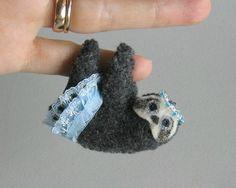 Sloth Princess miniature felt plush stuffed animal with bendable legs and hand painted face -rain forest animal