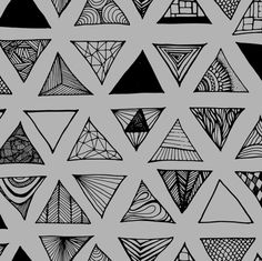 Triangle Doodles Black Grey by smuk, click to purchase fabric