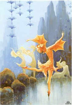 'And the tiniest of the goldfishes danced a solo.' - A picture from my childhood's story-book written by Raul Roine and illustrated by Rudolf Koivu.