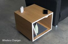 Rhombo Coffee table design by Ali Alamzadeh and Andyi Liao. Coffee Table With Storage, Coffee Table Design, Stand By You, White Oak, Night Light, Charger, Ali, Minimal, Lighting