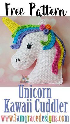 Unicorn Kawaii Cuddler™ - Free Crochet Pattern - Free crochet unicorn ragdoll rag doll pattern amigurumi Source by - # Crochet Kawaii, Cute Crochet, Crochet For Kids, Knit Crochet, Crochet Ideas, Easy Crochet Animals, Diy Crochet Projects, Funny Crochet, Sewing Projects