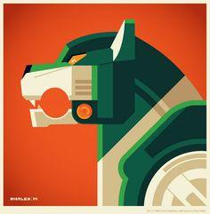 """Voltron 30th Anniversary Lion Miniprint Set: Green Lion"" by Tom Whalen"
