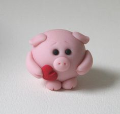 Valentine Piggy by Polymer Clay Ornaments, Polymer Clay Figures, Polymer Clay Animals, Fimo Clay, Polymer Clay Charms, Polymer Clay Projects, Polymer Clay Creations, Polymer Clay Art, Clay Crafts