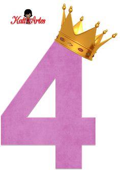 Alfabetos de números violeta claro con coronas. Número cuatro, 4.