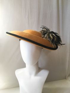 1990s Does 1940s Hat by Mr. Hi's // Wide Brim Mustard & Black Velvet Piped Trim Hat w/ Feathers // 40s Style Wool Felt Hat Gold and Black