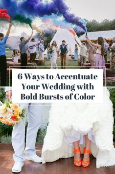 We have some ideas for how to incorporate splashes of color into your wedding decor for a fun wedding, full of unexpected bursts of color. Reception Entrance, Entrance Ideas, Grand Entrance, Wedding Reception, Color Smoke Bomb, Gifts For Wedding Party, Wedding Ideas, Flower Curtain, Bridal Party Dresses